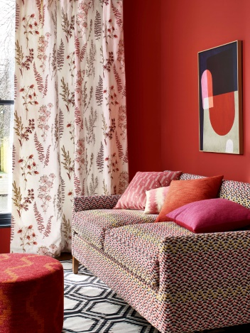 Corbell Curtains Red