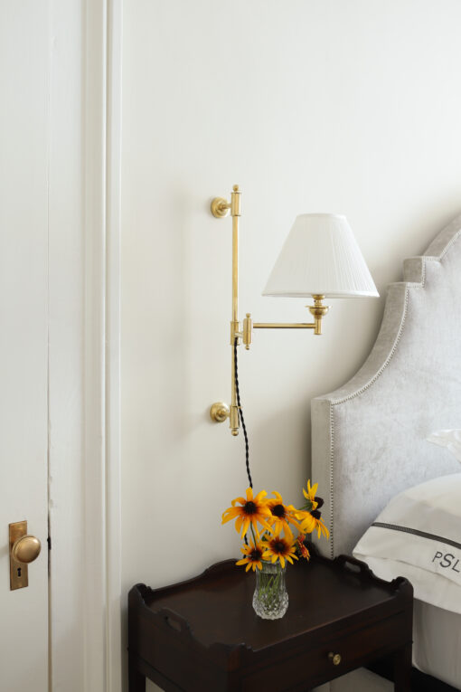 Wall sconce light on bedside