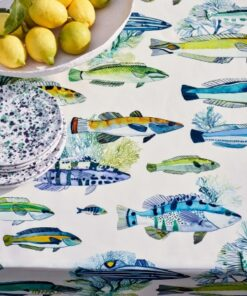 Manuel Canovas Colefax Fowler Fabric Fish Print Curtains Upholstery Fabric