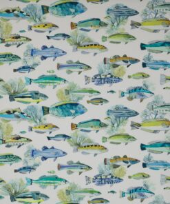Manuel Canovas Colefax and Fowler fish print indoor and outdoor fabric for curtains and upholstery